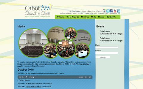Screenshot of Press Page cabotchurch.com - Media - Cabot Church of Christ - captured Nov. 9, 2018