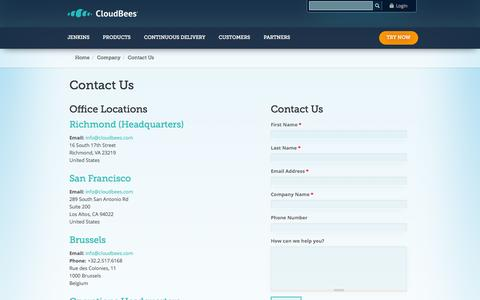 Screenshot of Contact Page cloudbees.com - Contact Us | CloudBees - captured Oct. 28, 2014