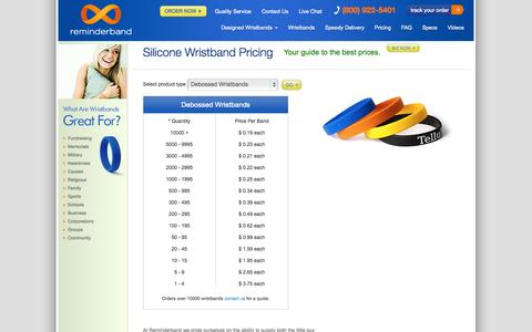 Screenshot of Pricing Page reminderband.com - Custom Silicone Bands Pricing - captured Sept. 19, 2014