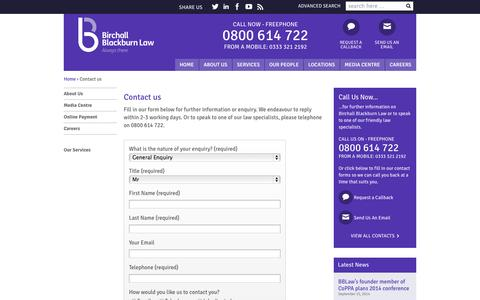 Screenshot of Contact Page birchallblackburn.co.uk - Contact us - Birchall Blackburn Law - captured Oct. 5, 2014
