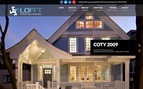 Screenshot of Home Page lofftconstruction.com - Lofft Construction - captured Oct. 2, 2014