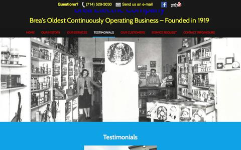 Screenshot of Testimonials Page breaelectric.com - Testimonials – Brea Electric Company - captured Oct. 11, 2017