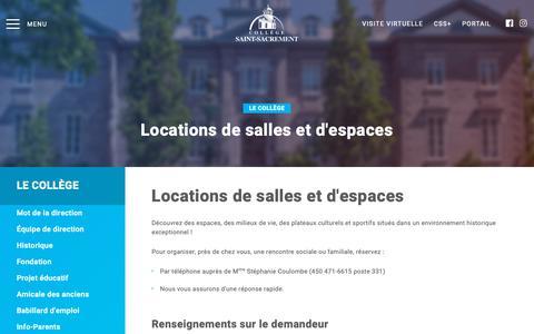Screenshot of Locations Page collegesaintsacrement.qc.ca - Locations de salles et d'espaces - captured Oct. 26, 2018
