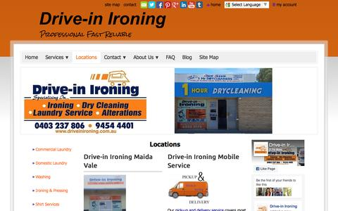 Screenshot of Locations Page drive-inironing.com.au - www.driveinironing.com.au - Locations - captured Aug. 2, 2016