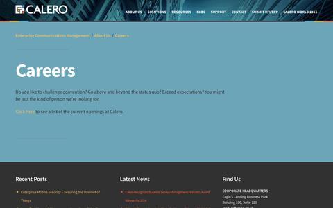 Screenshot of Jobs Page calero.com - Careers - captured Nov. 1, 2014