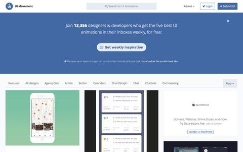 Screenshot of Maps & Directions Page uimovement.com - Map UI designs - UI Movement - captured Oct. 17, 2016