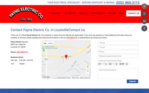 Screenshot of Contact Page payneelectricco.com - Contact Us | Payne Electric Co. | Louisville, Kentucky - captured Sept. 27, 2018