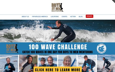 Screenshot of Home Page boystomen.org - Boys to Men Mentoring – Building communities of support and encouragement for fatherless & at-risk teenage boys - captured Oct. 6, 2018