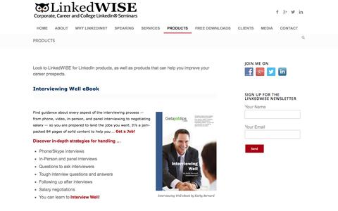 Screenshot of Products Page linkedwise.com - LinkedWISE LinkedIn products and job help products - captured Oct. 23, 2014