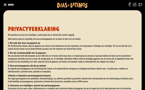 Screenshot of Privacy Page diaslatinos.nl - Dias Latinos Festival :: Privacy Statement - captured Aug. 7, 2018