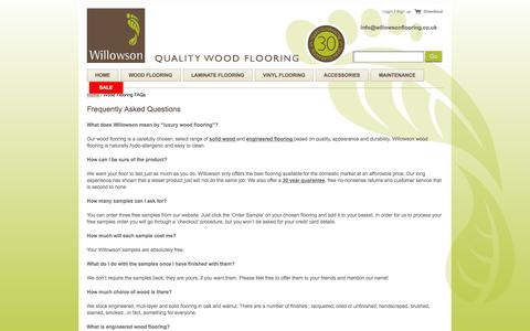 Screenshot of FAQ Page willowsonflooring.co.uk - Wood Flooring FAQs - captured Oct. 7, 2014