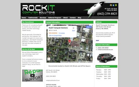 Screenshot of Contact Page Maps & Directions Page rockitcomputersolutions.com - Contact Information for RockIT Computer Solutions | Oxford, MS | (662) 598-1FIX - captured Oct. 26, 2014