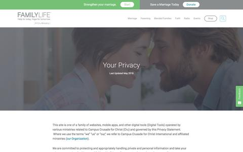 Screenshot of Privacy Page familylife.com - Privacy Policy - FamilyLife® - captured Aug. 12, 2018
