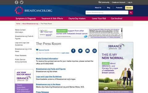 Screenshot of Press Page breastcancer.org - The Press Room - captured Sept. 22, 2018