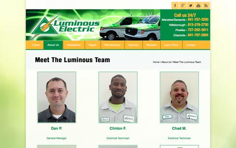 Screenshot of Team Page lumelect.com - Meet The Luminous Team - captured Sept. 5, 2017