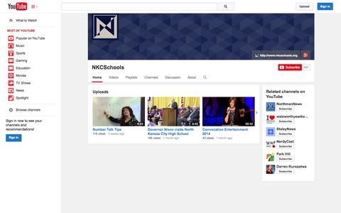 Screenshot of YouTube Page youtube.com - NKCSchools  - YouTube - captured Oct. 26, 2014