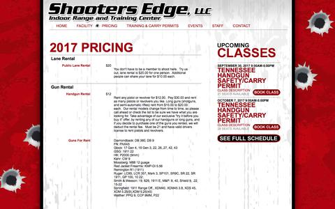 Screenshot of Pricing Page myshootersedge.com - Shooters Edge, LLC Indoor Range and Training Center | Pricing - captured Sept. 30, 2017