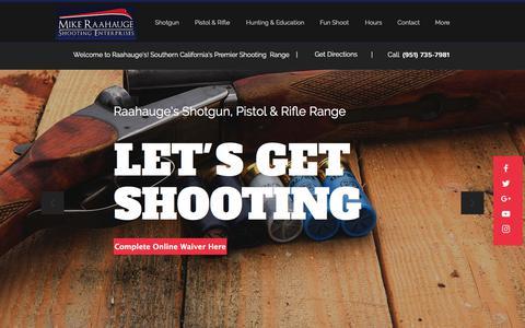 Screenshot of Home Page raahauges.com - Raahauge's Shooting Enterprises |Gun Range Corona CA - captured Sept. 22, 2018