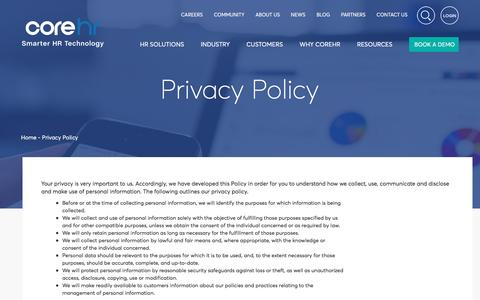 Screenshot of Privacy Page corehr.com - Privacy Policy - CoreHR - captured May 21, 2017