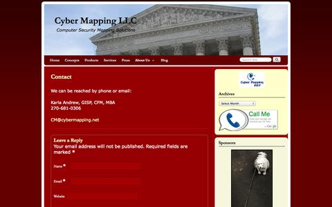 Screenshot of Contact Page cybermapping.net - Contact | Cyber Mapping LLC - captured Oct. 3, 2014