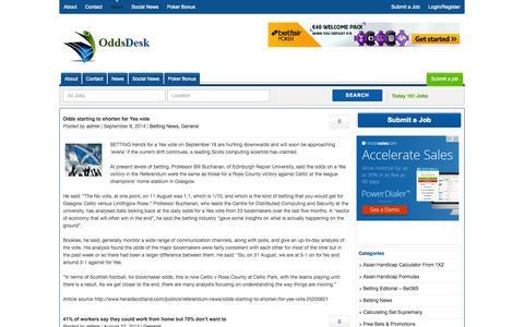 Screenshot of Press Page oddsdesk.com - Betting Jobs & Gambling News | Oddsdesk | Oddsdesk - captured Oct. 27, 2014