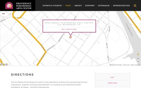 Screenshot of Maps & Directions Page ppacri.org - Providence Performing Arts Center :: Directions - captured Jan. 27, 2016