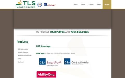 Screenshot of Products Page tlservices.com - Products - captured Dec. 1, 2016