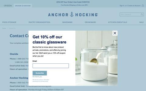 Screenshot of Contact Page anchorhocking.com - Contact Us - captured Nov. 13, 2019