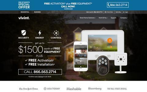 Screenshot of Home Page vivint.com - Vivint Smart Home Solutions | 855-832-1550 - captured Jan. 26, 2015