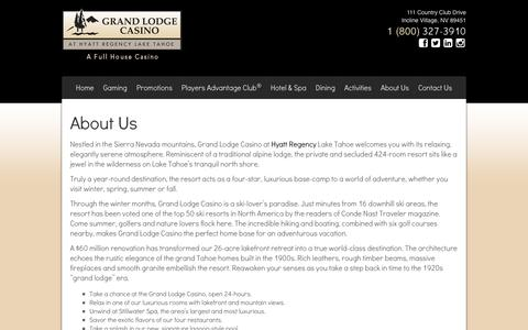 Screenshot of About Page grandlodgecasino.com - About Us   Grand Lodge Casino at Hyatt Regency Lake Tahoe Grand Lodge Casino at Hyatt Regency Lake Tahoe - captured Sept. 30, 2014