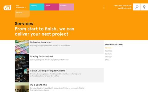 Screenshot of Services Page vet.co.uk - Services for Post Production at VET London - captured Oct. 9, 2014