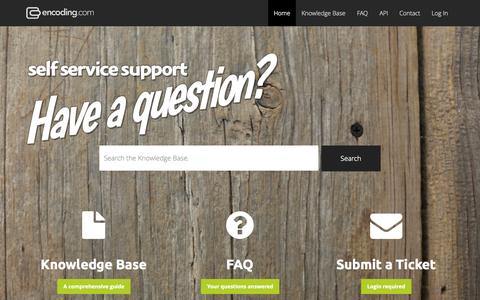 Screenshot of Support Page encoding.com - We are here to help.   Encoding.com HelpEncoding.com  Help - captured Sept. 16, 2014
