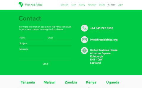 Screenshot of Contact Page firstaidafrica.org - First Aid Africa | Training, Volunteering, & First Aid Resources | Contact - captured Aug. 13, 2018
