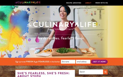 Screenshot of About Page theculinarylife.com - About Stephanie Stiavetti and The Culinary Life - captured Feb. 10, 2016