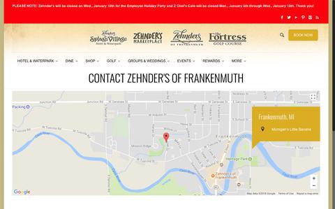 Screenshot of Contact Page zehnders.com - Zehnder's of Frankenmuth | Zehnder's Splash Village | Contact Us | Zehnder's of Frankenmuth - captured Jan. 8, 2018