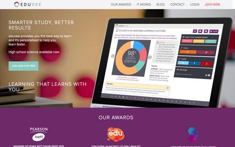Screenshot of Home Page eduvee.com - {{pageTitle}} - captured Sept. 30, 2014