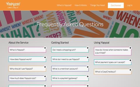 Screenshot of FAQ Page yapyzal.com - Yapyzal Like It. Buy It. - captured July 23, 2016