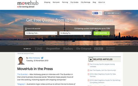 Screenshot of Press Page movehub.com - Press Page and Press Contact at MoveHub - captured Jan. 12, 2016
