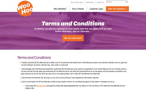 Screenshot of Terms Page nztaxrefunds.co.nz - Terms and Conditions | NZ Tax Refunds - captured Oct. 6, 2014