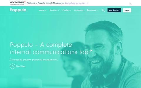 Screenshot of Home Page poppulo.com - Poppulo | Internal Communication Tools ‹ Success from within - captured Jan. 29, 2018