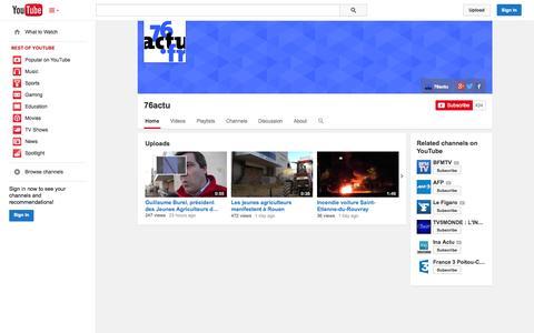 Screenshot of YouTube Page youtube.com - 76actu  - YouTube - captured Nov. 1, 2014
