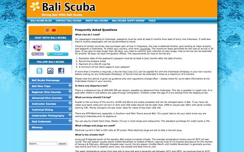 Screenshot of FAQ Page baliscuba.com - Frequently Asked Questions   FAQ   Static Pages - captured Sept. 30, 2014