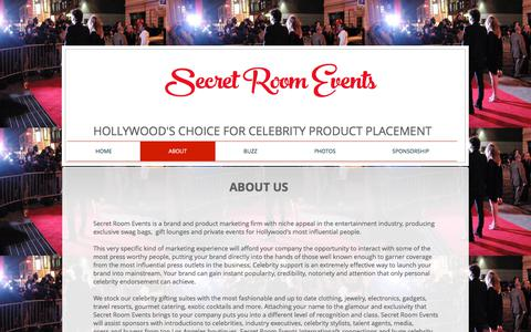 Screenshot of About Page secretroomevents.com - About Secret Room Events - captured Oct. 6, 2017