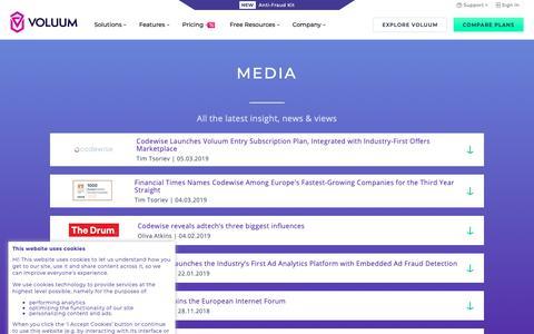 Screenshot of Press Page voluum.com - Media - Voluum Affiliate Tracker - captured March 7, 2019