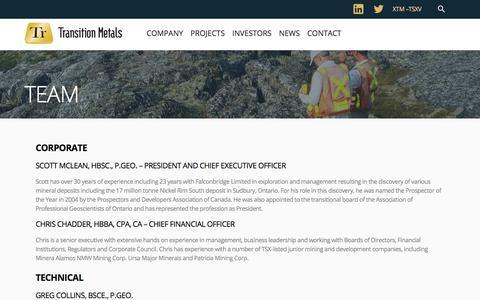 Screenshot of Team Page transitionmetalscorp.com - Team | Transition Metals Corp - captured Sept. 21, 2018