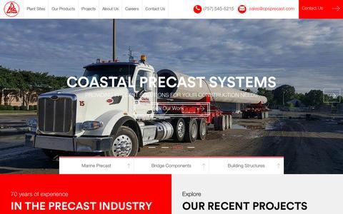 Screenshot of Home Page cpsprecast.com - Coastal Precast Systems | Precast Solutions - captured Nov. 8, 2016