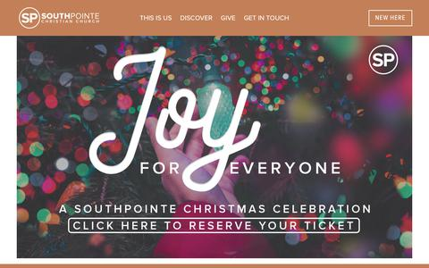 Screenshot of Home Page southpointeri.com - SouthPointe Christian Church - captured Dec. 21, 2018