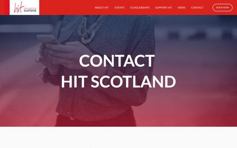 Screenshot of Contact Page hitscotland.co.uk - HIT Scotland — Contact - captured Nov. 4, 2018