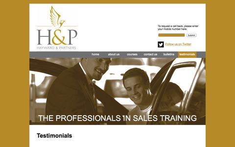 Screenshot of Testimonials Page haywardpartners.co.uk - Hayward Partners Training for the Automotive Industry | UK - captured Sept. 29, 2014
