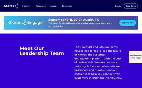 Screenshot of Team Page khoros.com - Khoros Leadership Team | Get to Know Our Executives - captured July 9, 2019
